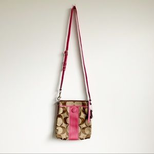3/$25 Coach Crossbody Messeng Bag Mini Pink/Brown
